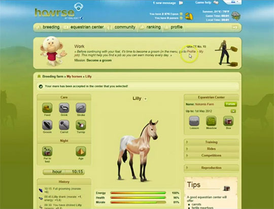 How to Start a Horse in Howrse